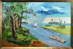 VIBRANTLY COLORED TRANQUIL ISLAND BEACH SCENE PAINTING