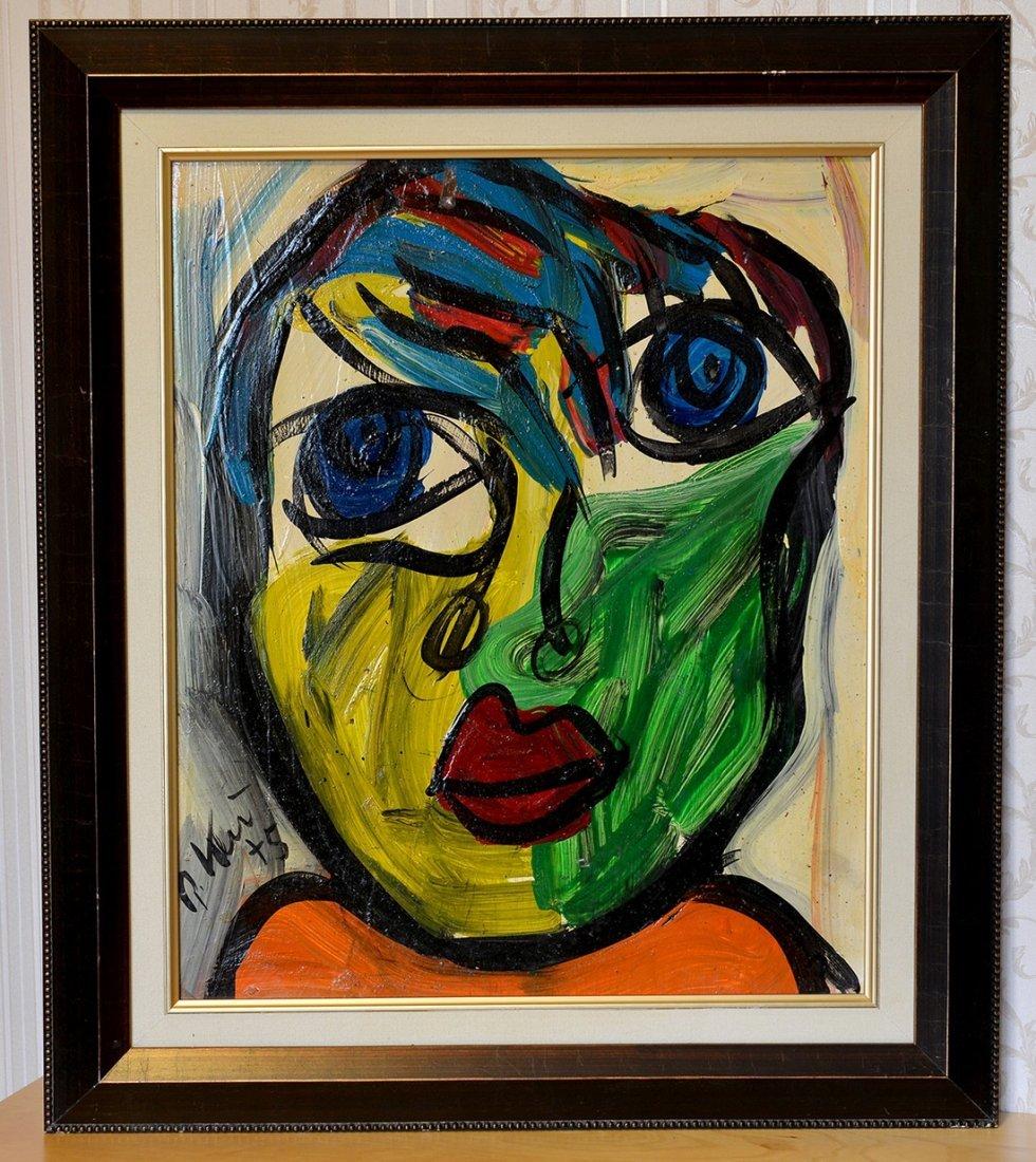 Peter Keil Acrylic On Board,Man Portrait 1975,