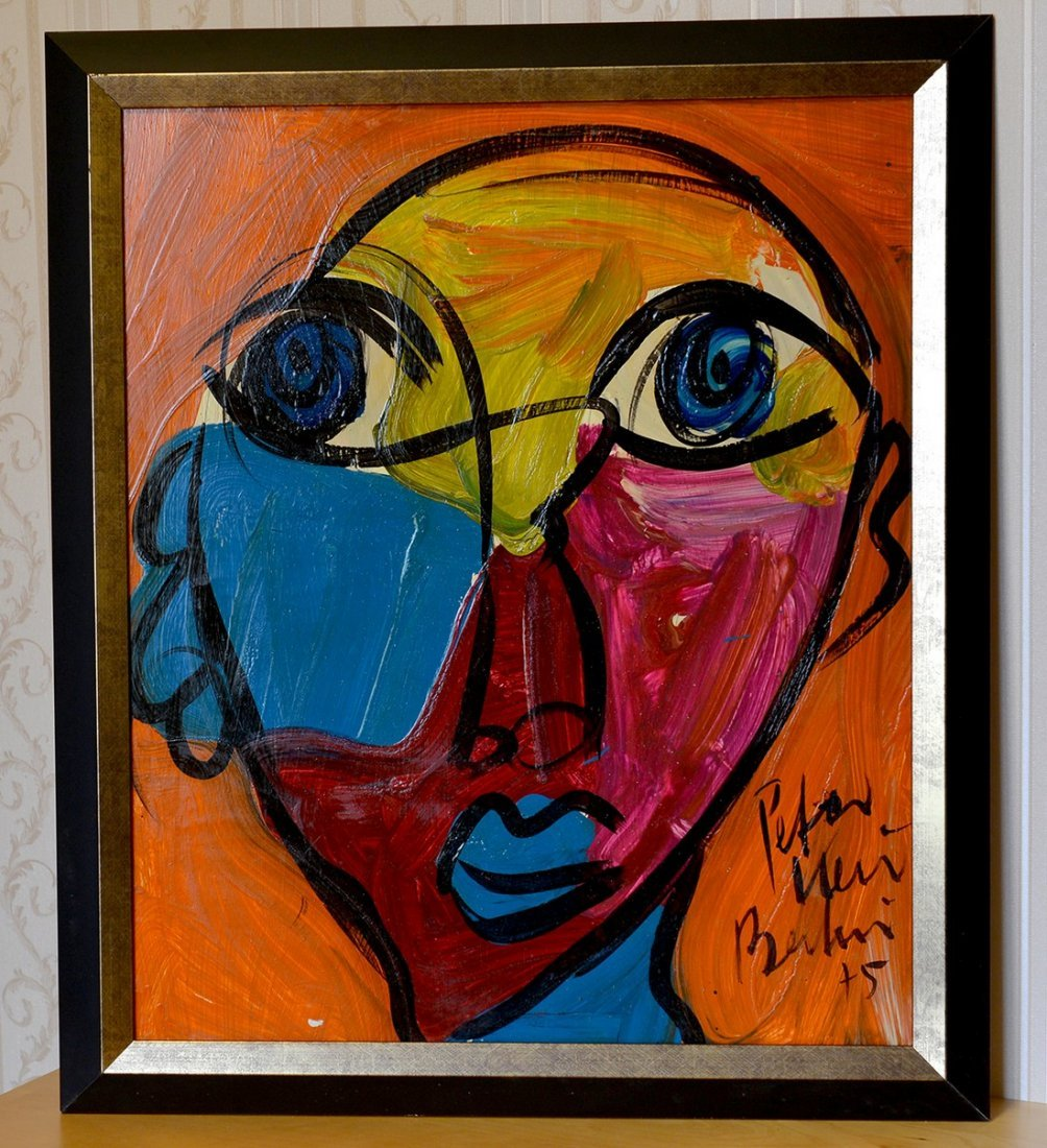 "Peter Keil Acrylic On Board,Face 3, 24""x20"""