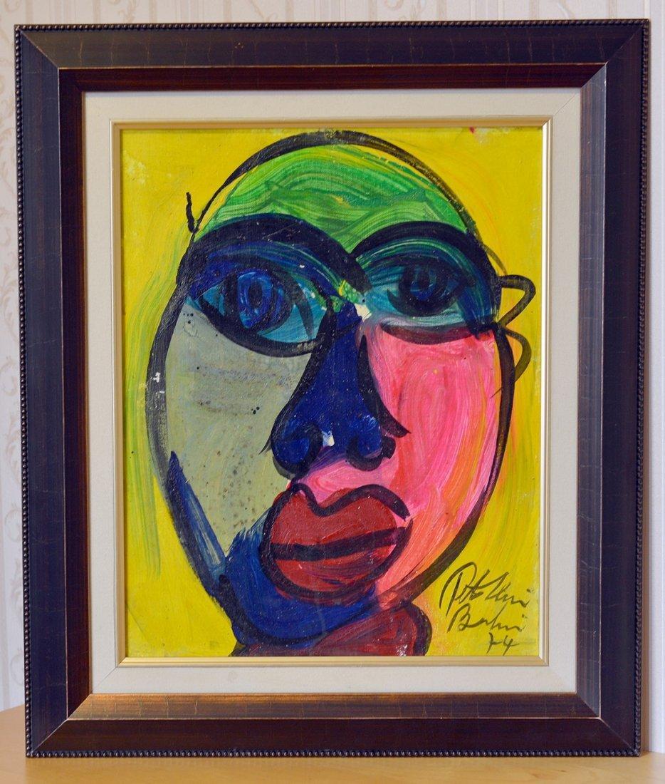 Peter Keil Acrylic On Canvas,Face 5,Berlin, 1974