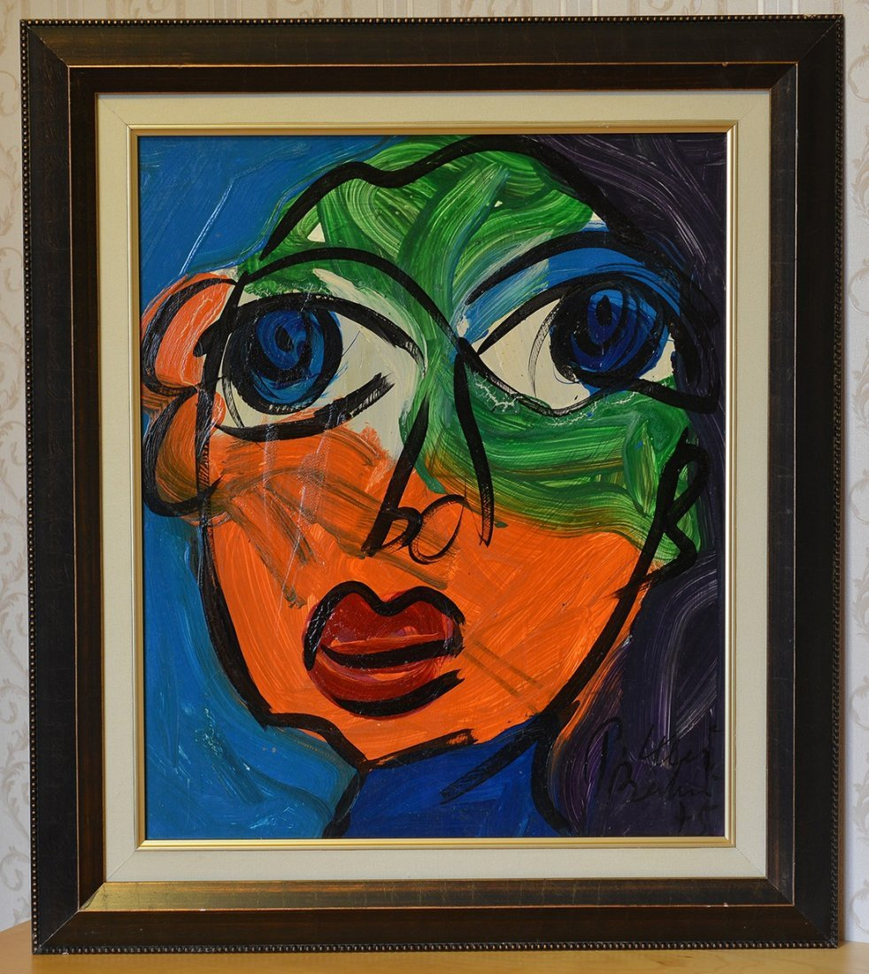 Unique Peter Keil Painting Acrylic On Board,Face