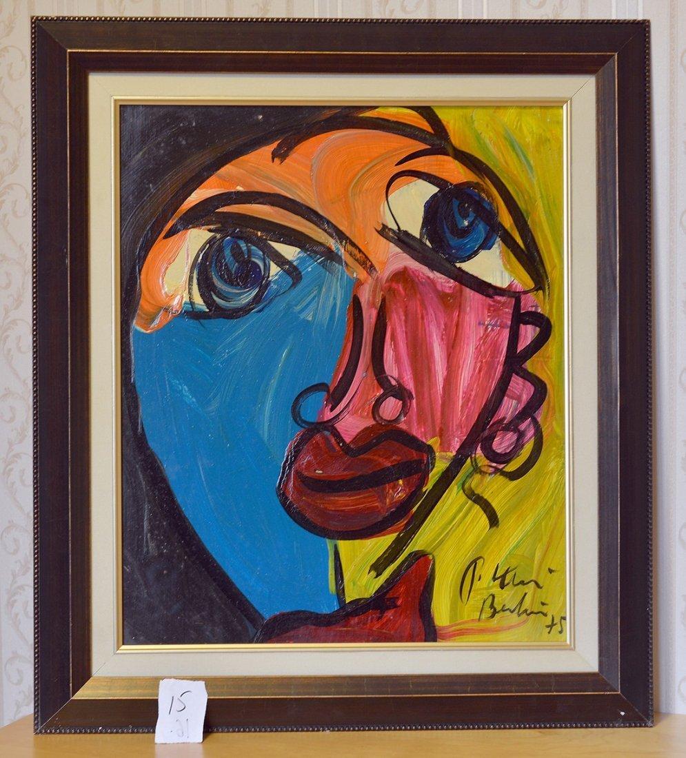 Original Painting By Peter Keil,Face 11,Berlin,