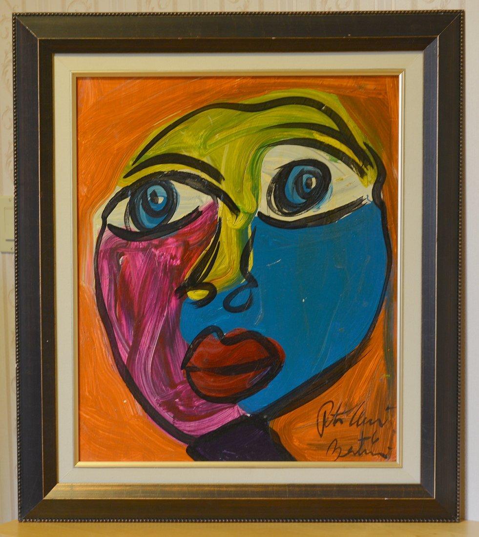 "Peter Keil Acrylic On Board,Face 13, 24""x20"""