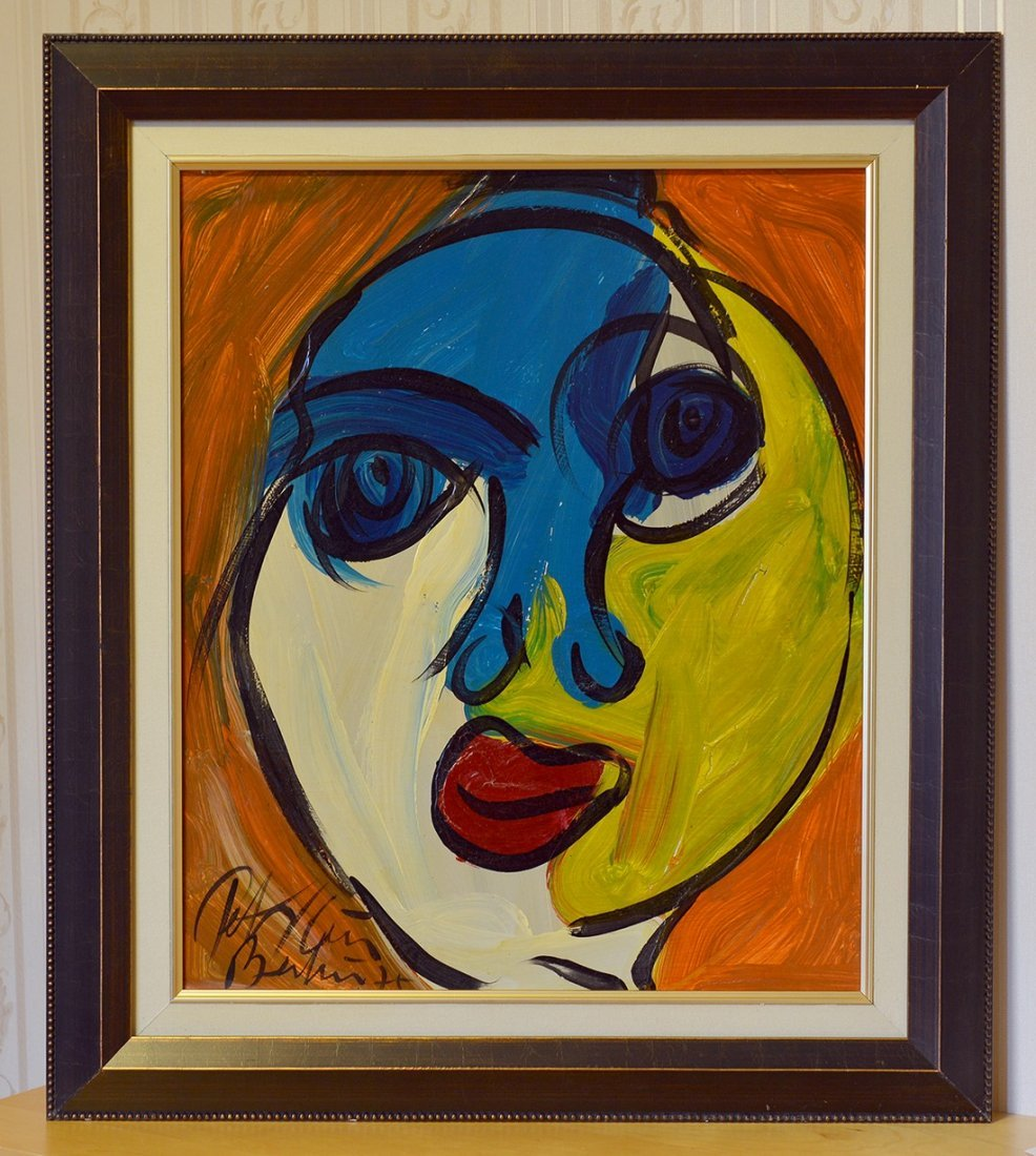 Original Peter Keil Painting Acrylic On Board,Face