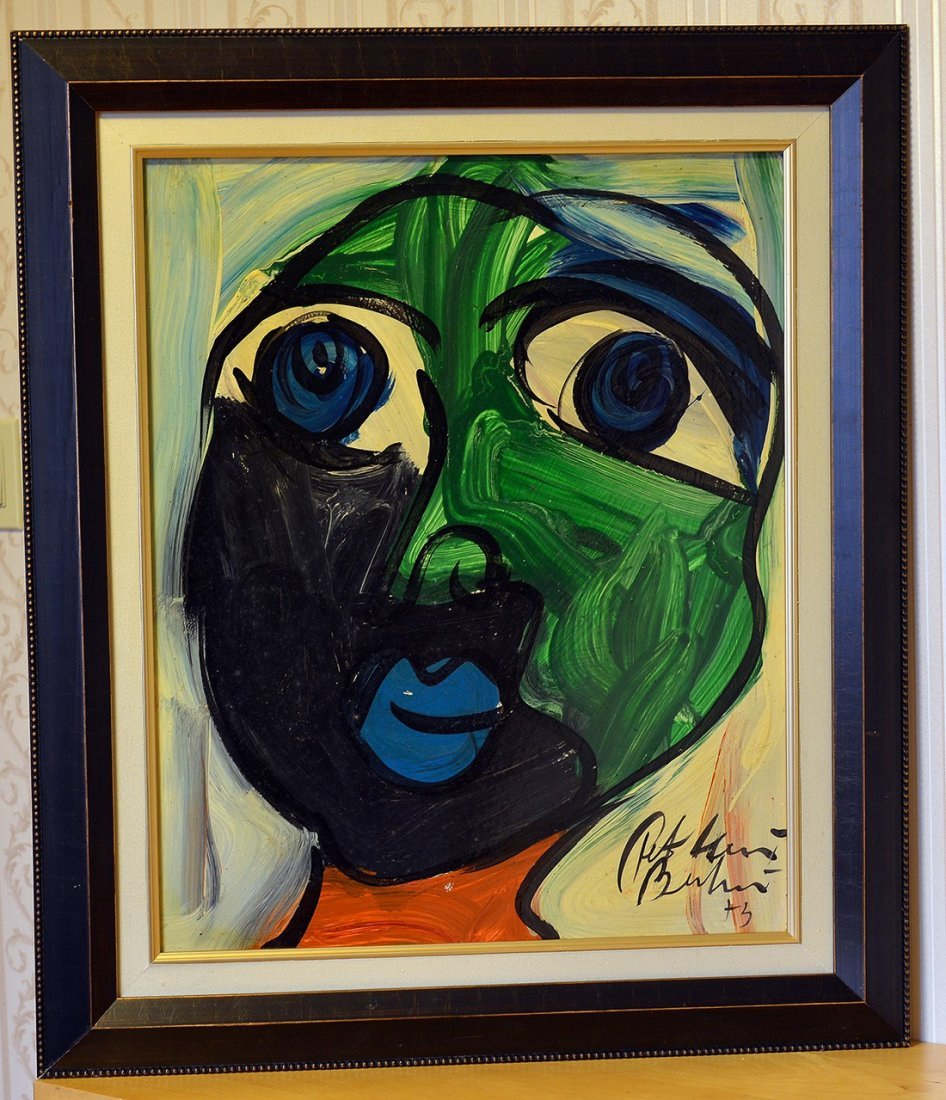 "Peter Keil Acrylic On Canvas,Face 16, 25""x20"""