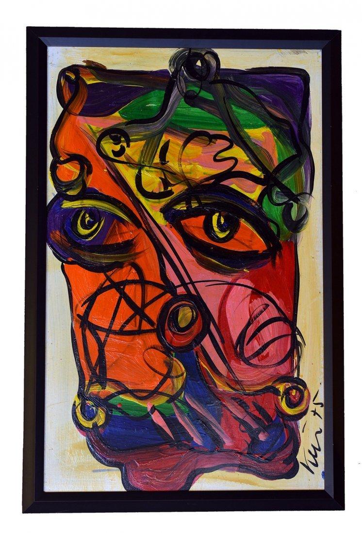Rare Painting by Peter Keil,Boston Clown, Berlin,