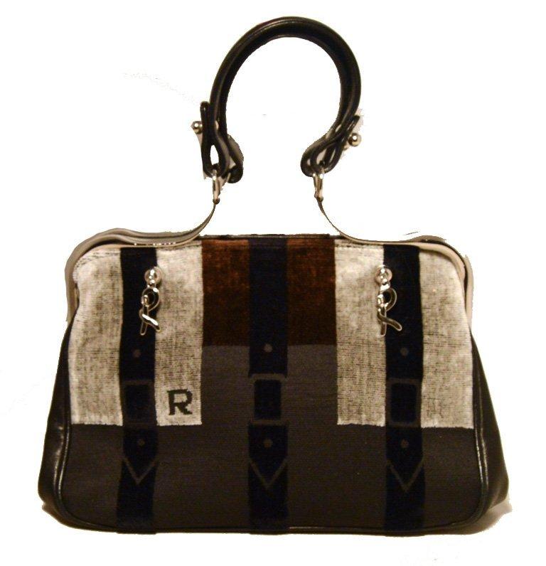 Roberta Di Camerino Vintage Grey and Brown Striped