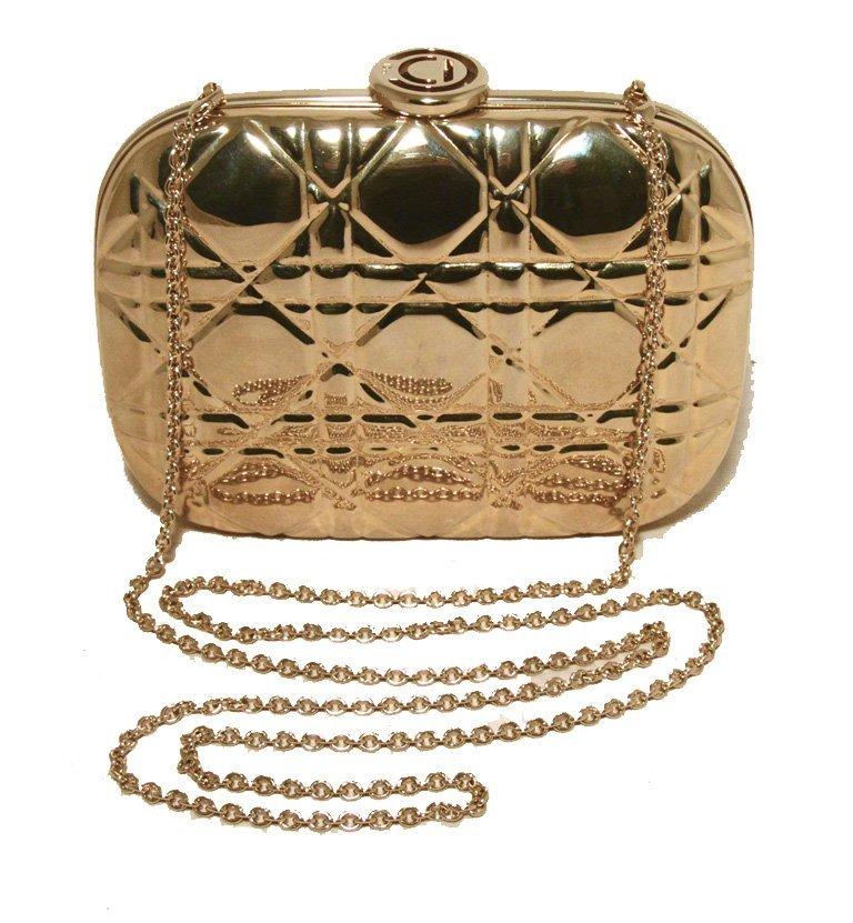 Chrisian Dior Gold Cannage Metal Clutch Evening Bag