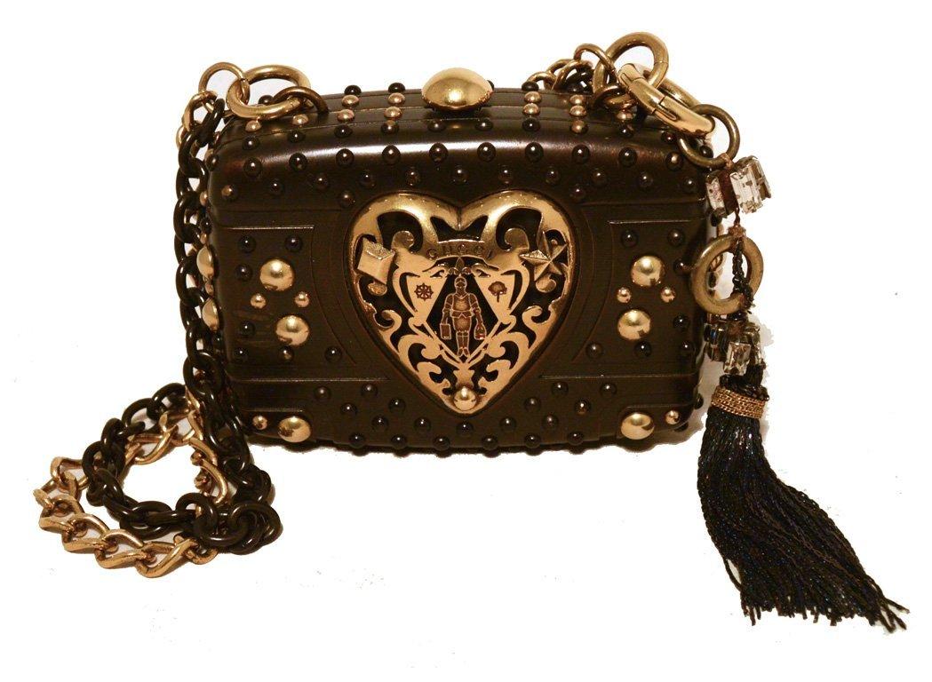 Gucci Studded Gunmetal Knights Armor Heart Box Handbag