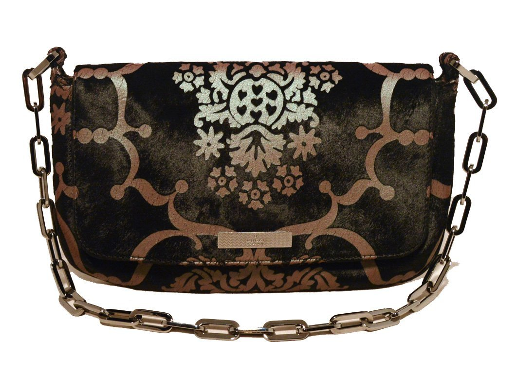 Gucci Iridescent Filagree Patterned Black Pony Hair