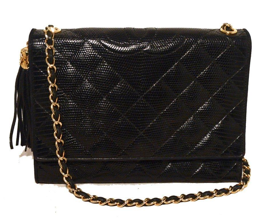 Chanel Vintage Black Lizard Leather Side Tassel