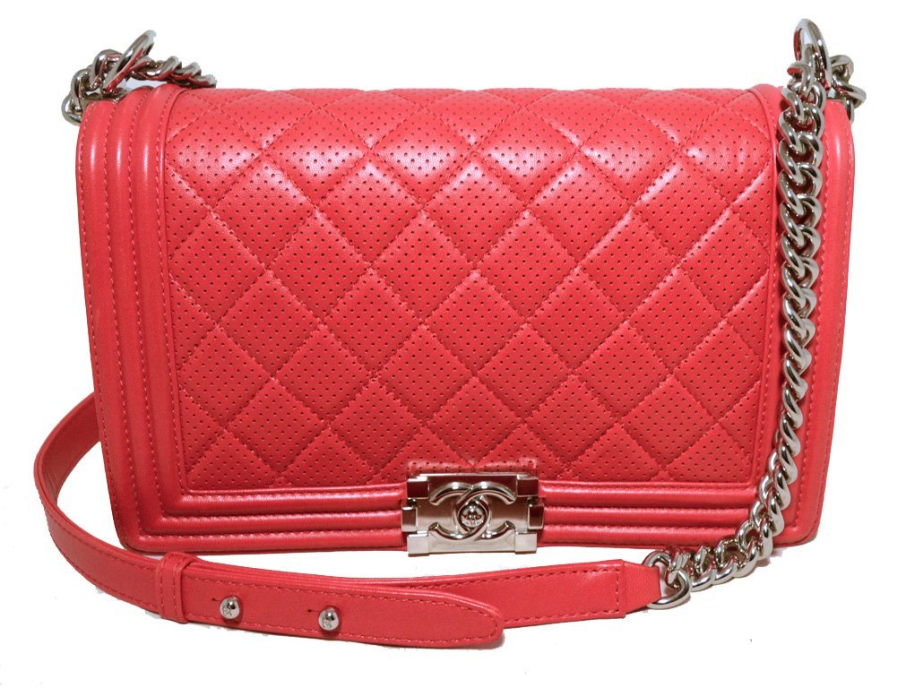 Chanel Cherry Red Perforated Leather Classic Flap Boy