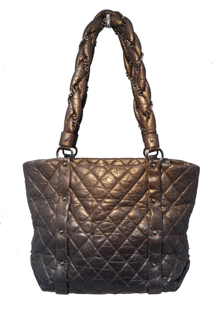 Chanel Dark Grey Distressed Leather Shopper Tote
