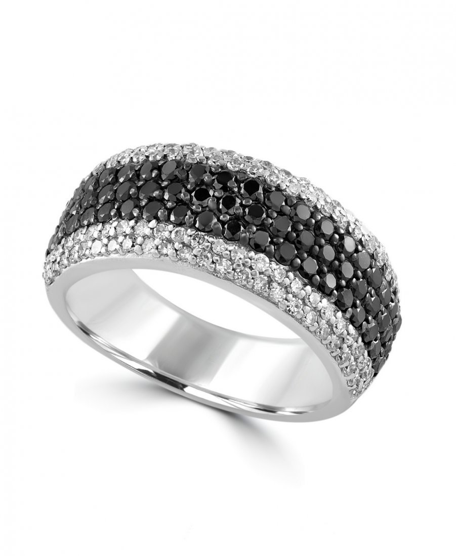 14K WHITE GOLD DIAMOND,BLACK DIAMOND, RING