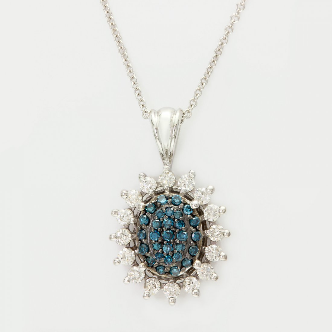 14K WHITE GOLD DIAMOND,BLUE DIAMOND, PENDANT