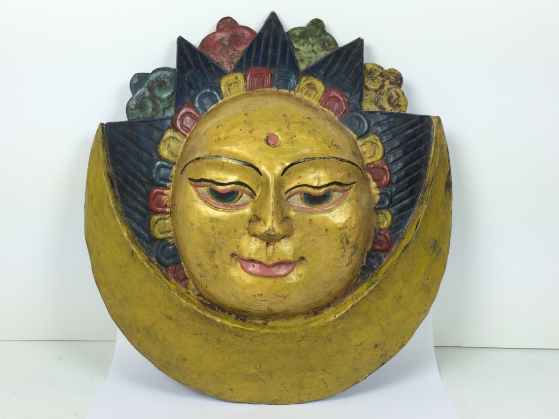 Carved Wood Tibetan Mask