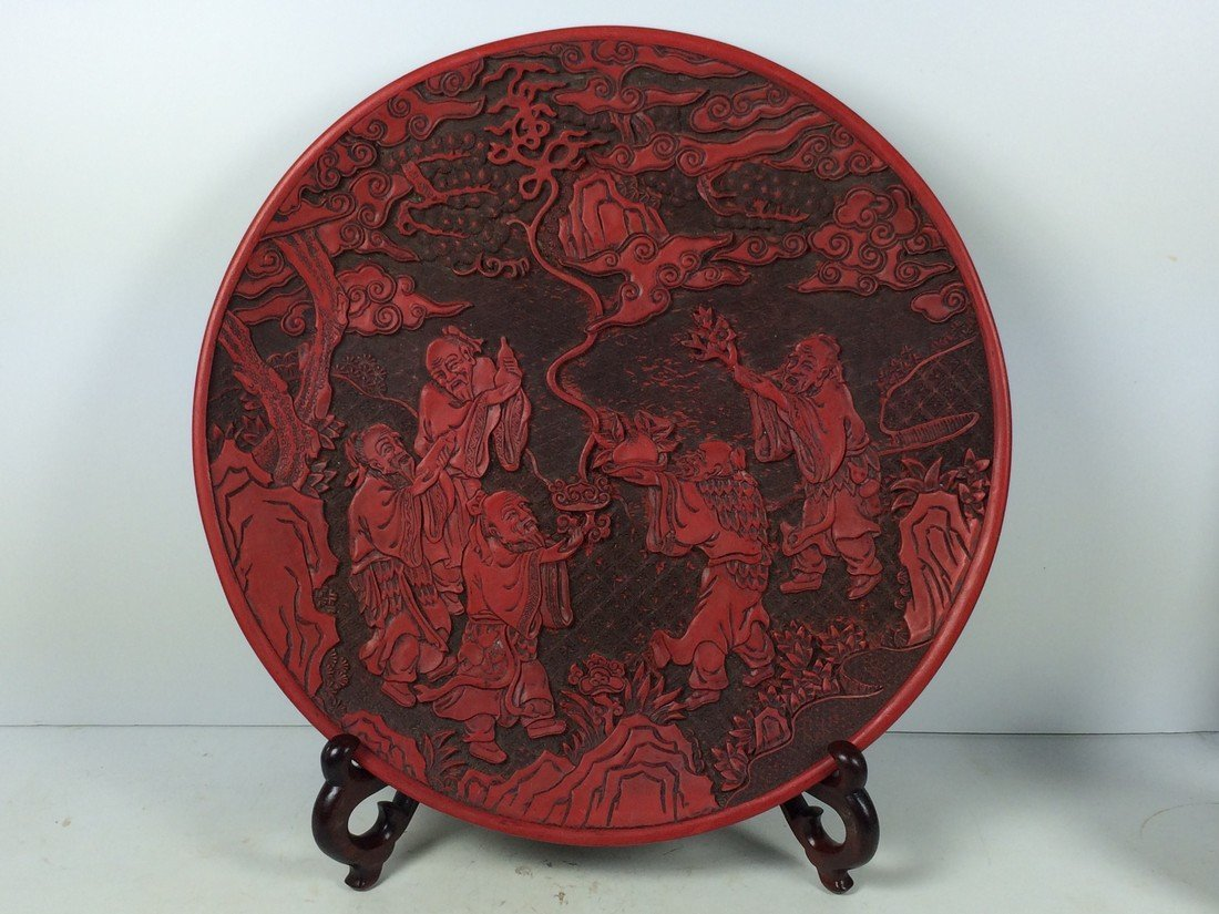 Carved Red Lacquered Charger