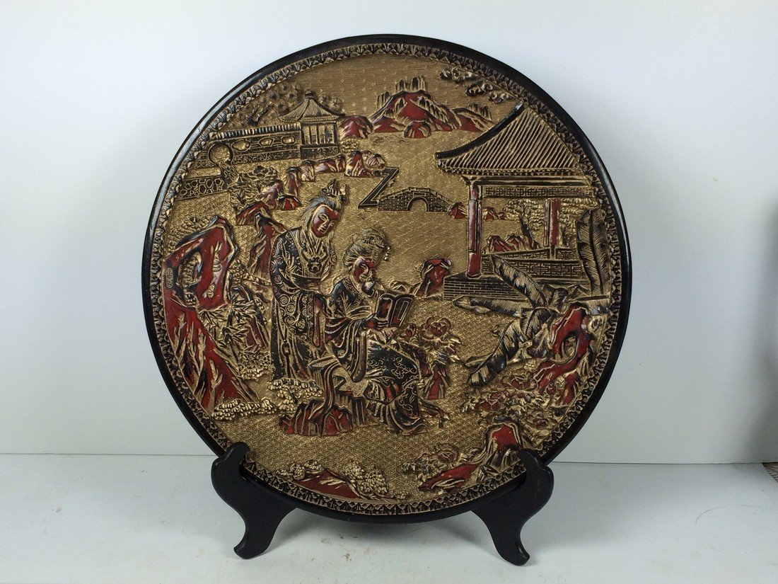 Carved Red and Gold Lacquered Charger