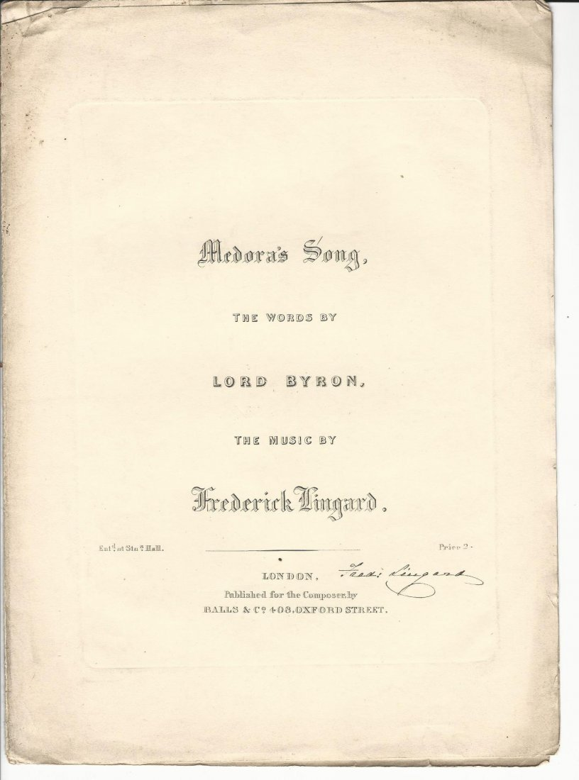 Engraved Music Signed Frederick Lingard