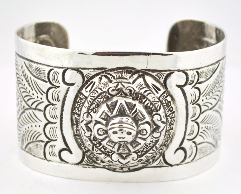 Vintage Mexican Sterling Silver Repousse Cuff Bracelet