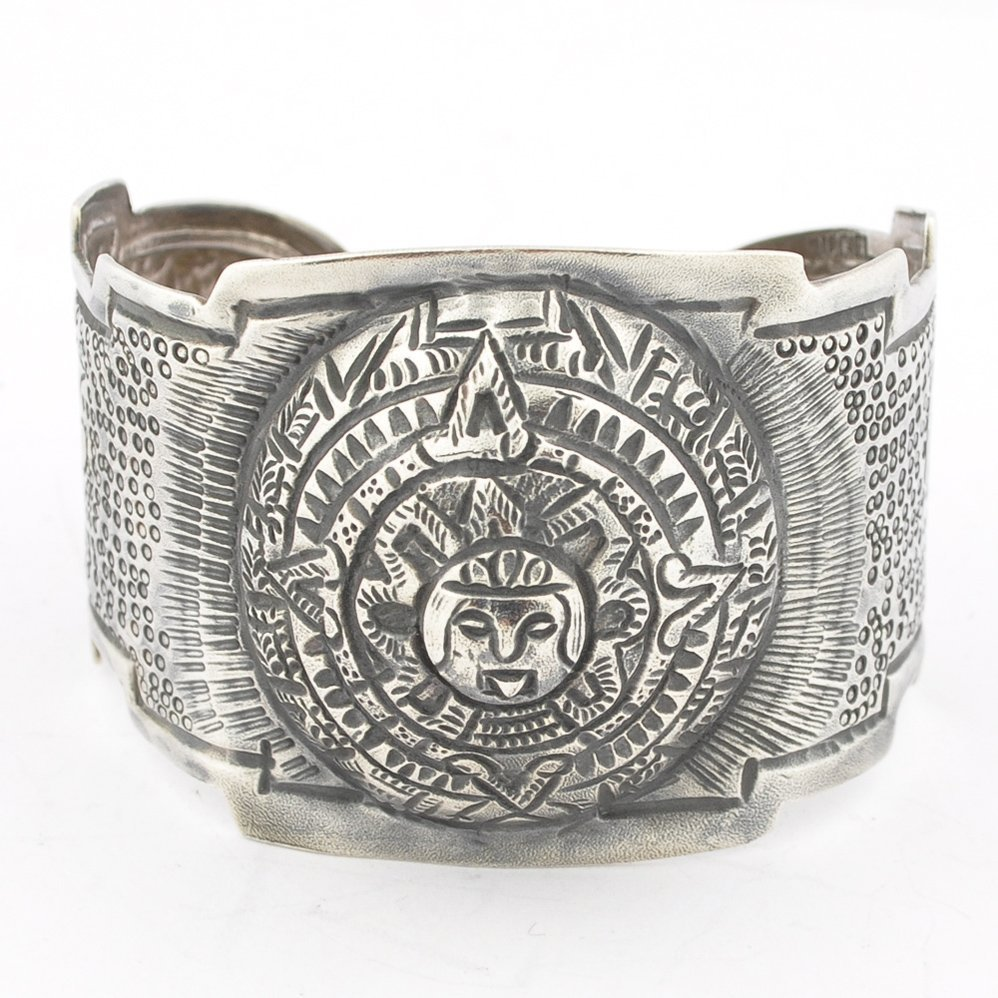Maciel Mexican Silver Hand Hammered Repousse Aztec Cuff