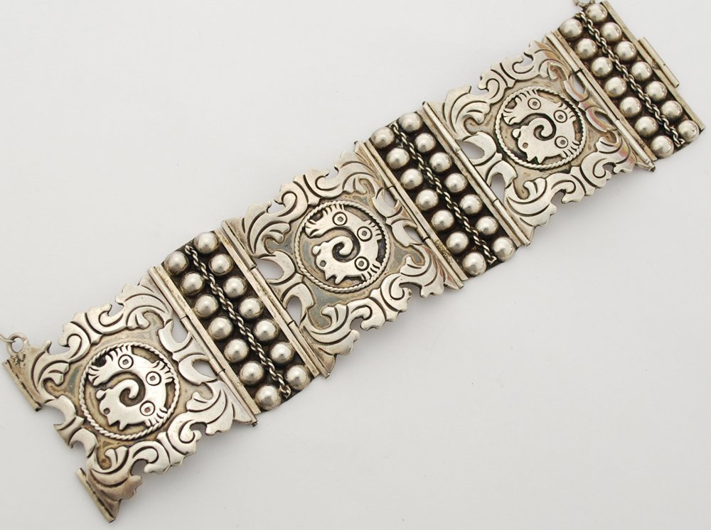 Taxco Mexico Sterling Silver Early Modernist Bracelet