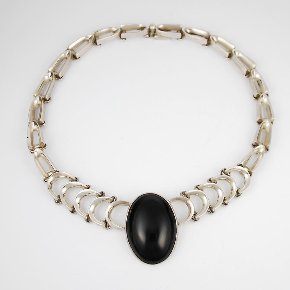 Vintage Mexican Sterling Silver Black Onyx Necklace