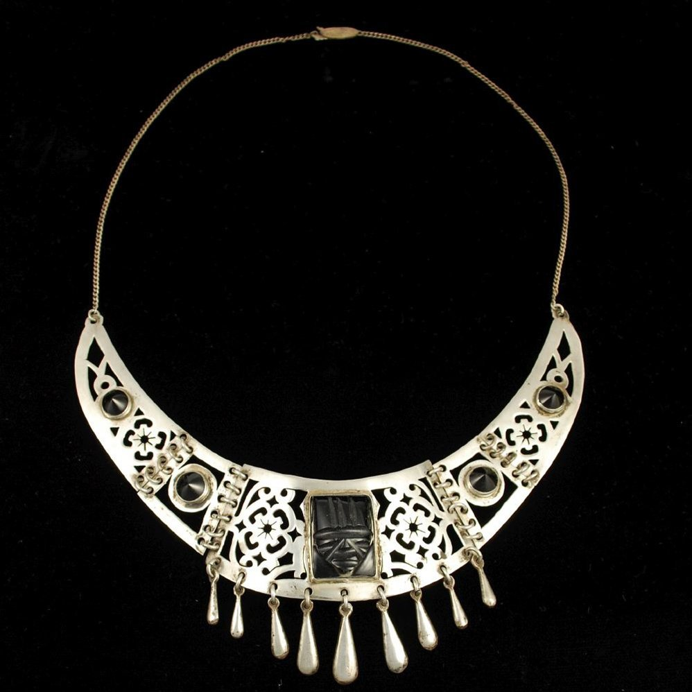 Early Mexican Sterling Silver Onyx Handwrought Necklace