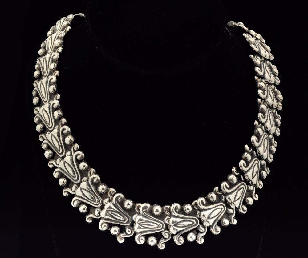 Early Mexican Handwrought Sterling Silver Necklace 20""