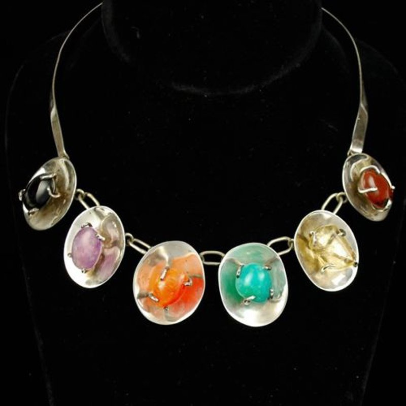 Mexican Modernist Sterling Silver Gemstone Necklace