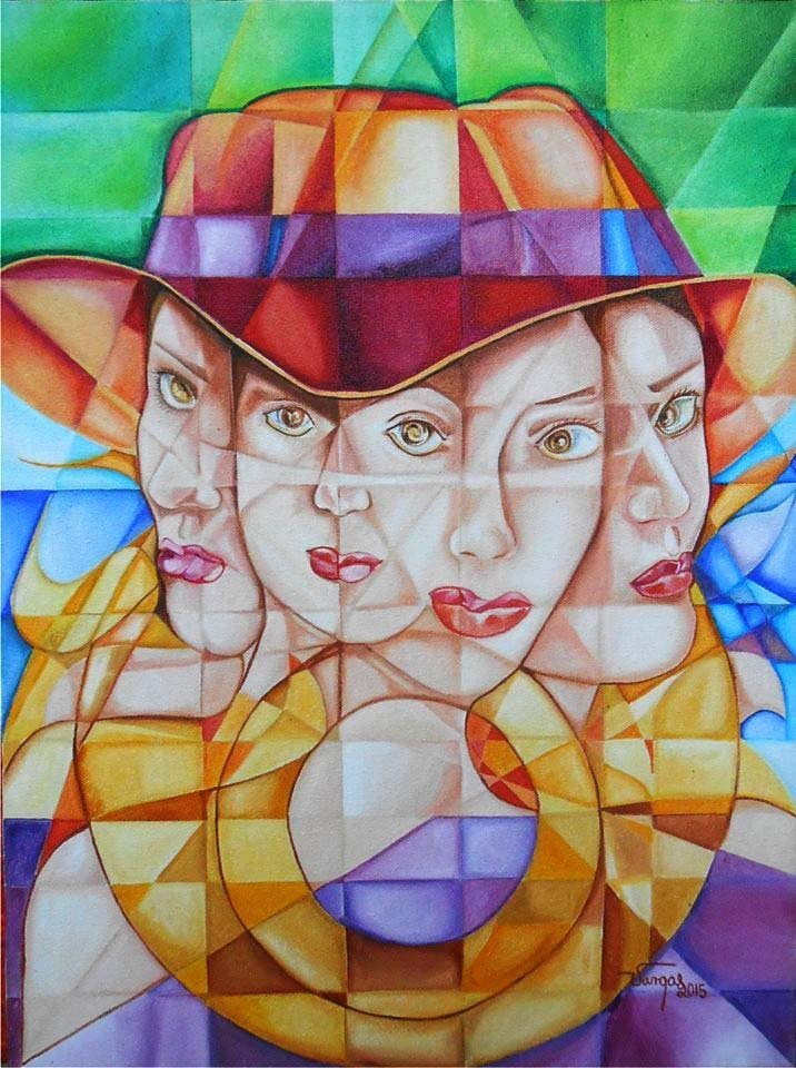 Woman in Fedora-Oil on Canvas Original High End Vargas