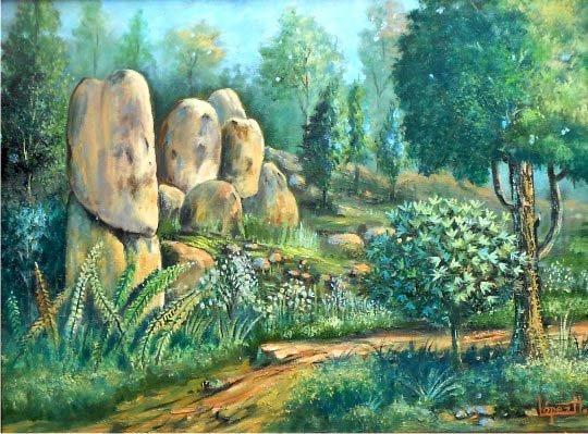 Oil on Canvas Original Landscape Rocky Path