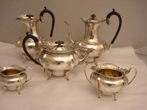 English Sterling 4pc Tea Set + Water Pitcher