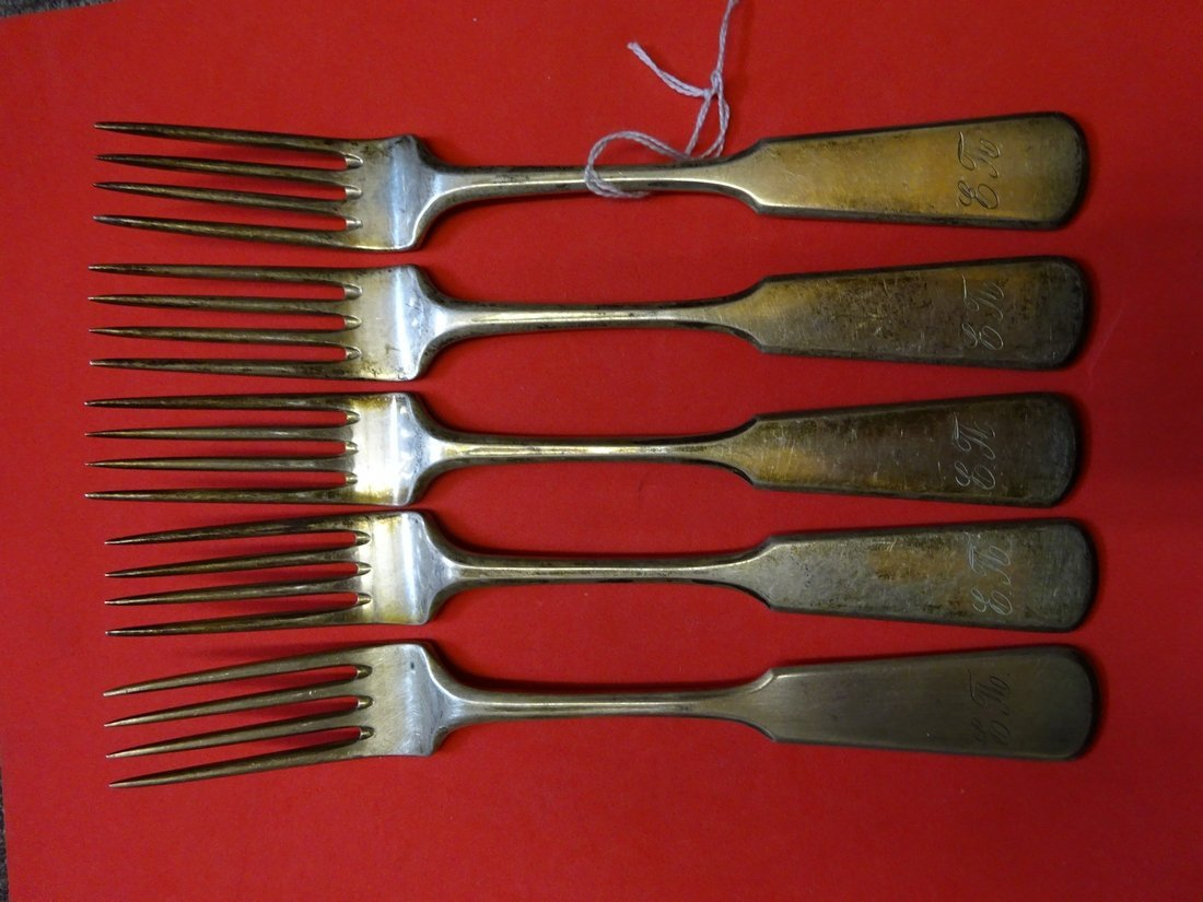 Russian silver set of 5 dinner forks