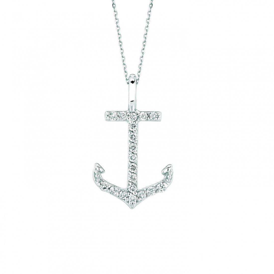 Diamond anchor necklace
