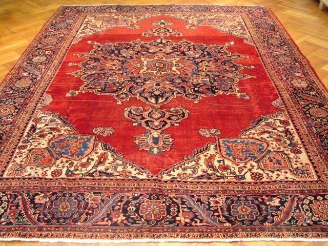 Large 13'x10' open field design Persian Tabriz carpet