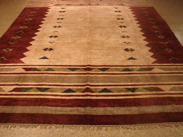 Contemporary modern Silk 11'x8' Hand made flat weave