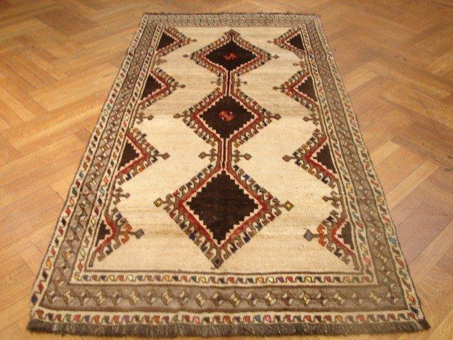 "Wool on Wooll 7'.2'x3'.6"" Triple star Persian Gabbeh"