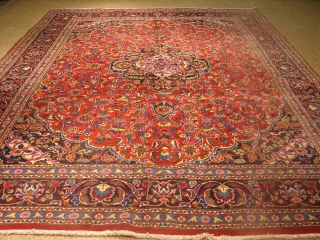 Semi antique 13'x10' Persian Kashan circa 1970s washed