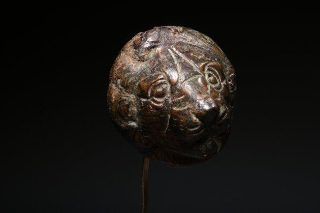 Roman Bronze Lion Head Applique circa 1st - 4th Century