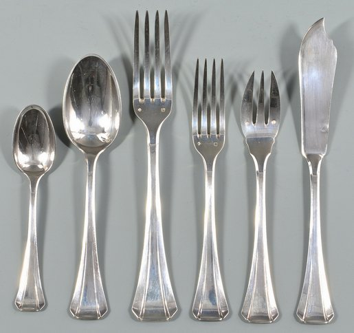 Tetard Freres French Art Deco Sterling Silver Flatware