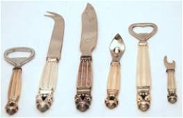 Georg Jensen Acorn Sterling Silver Bar Set