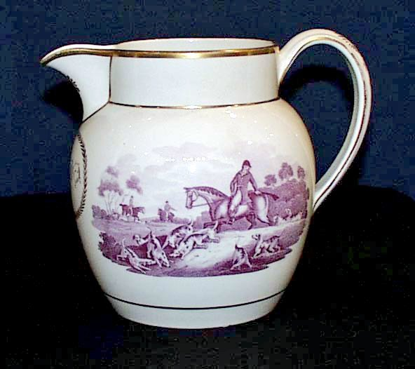 A Rare Wedgwood Pottery Pearlware Fox Hunting Jug,