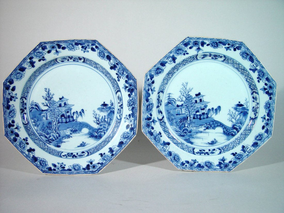 A Pair of Chinese Export Underglaze Blue & White