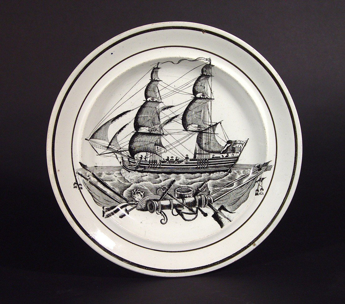 A Welsh Pottery Plate decorated with a Ship, Dillwyn