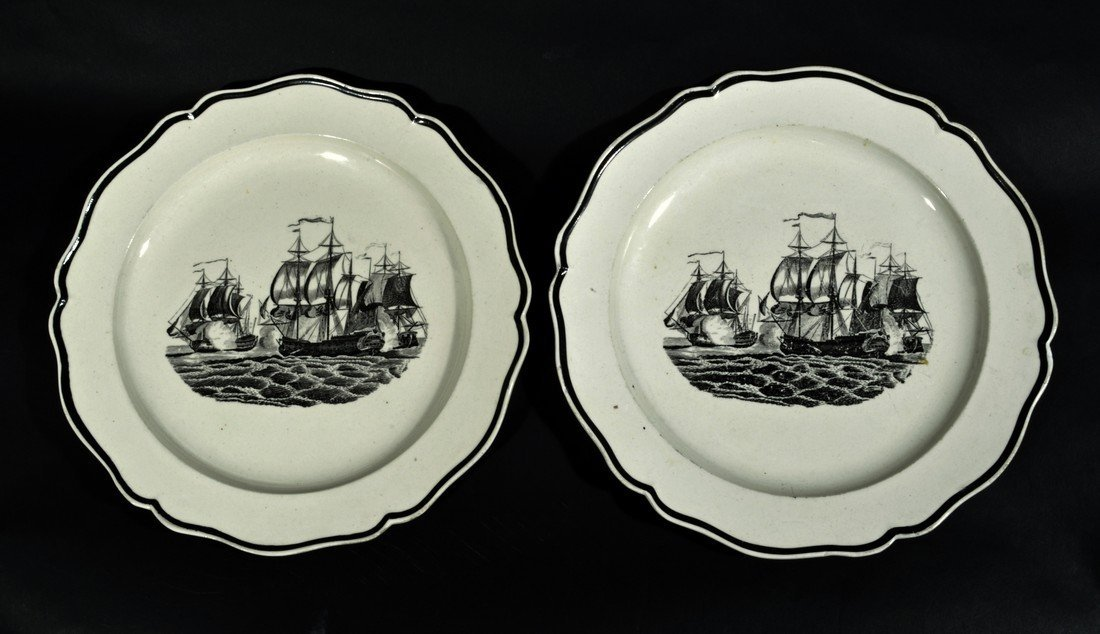 A Pair of English Creamware Plates decorated with