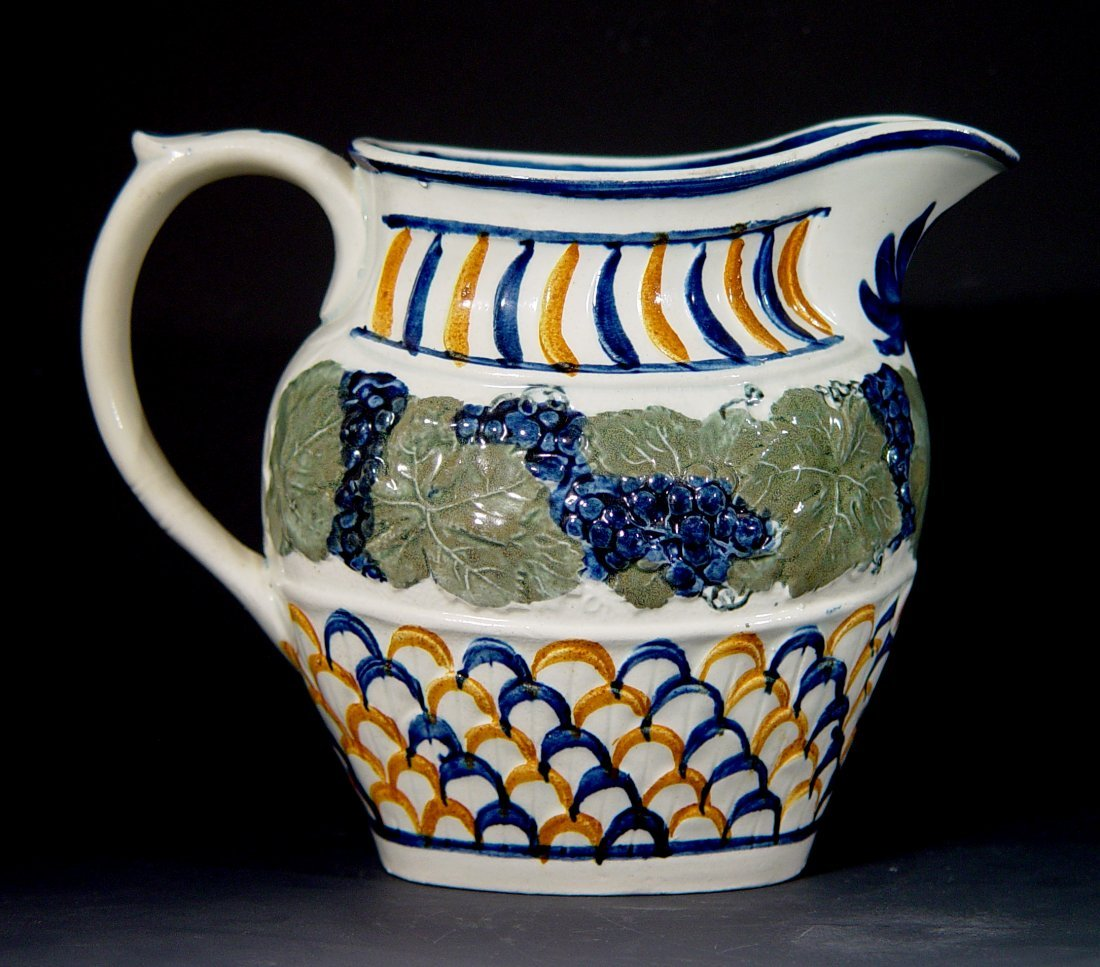 A Prattware Jug decorated with Vine & Scale Pattern,
