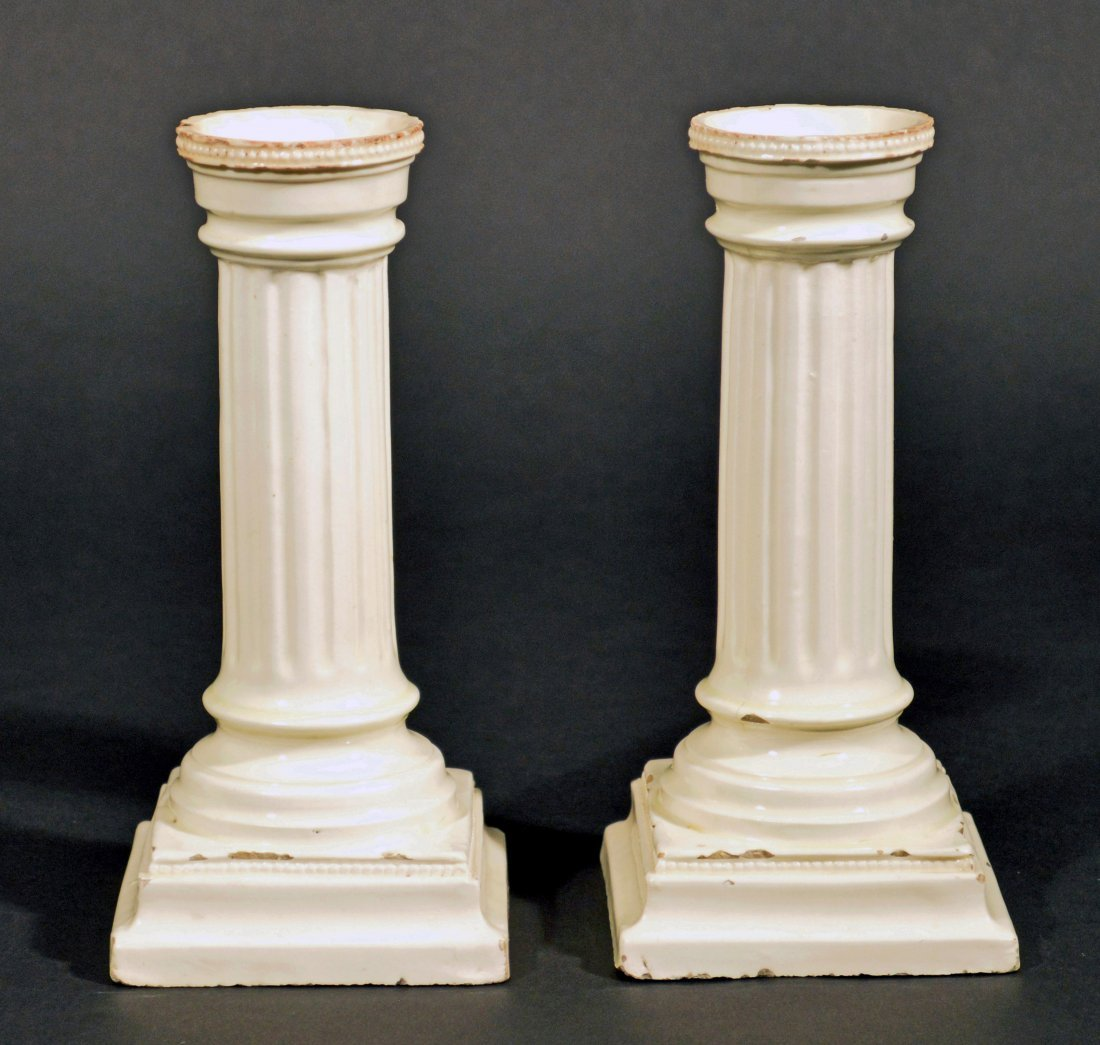 A Pair of English 18th Century Creamware Candlesticks,