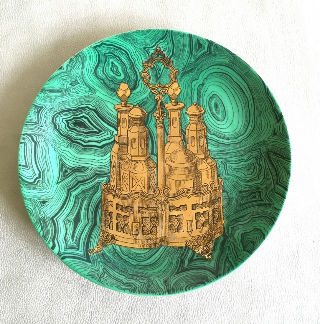 A Large Piero Fornasetti Malachite Plate with Gilt