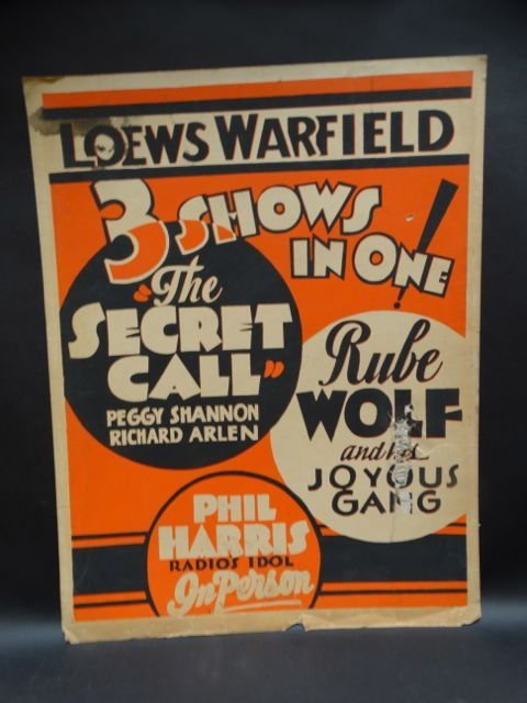 Loews Warfield 3 Shows-in-one Poster 1931 AP458